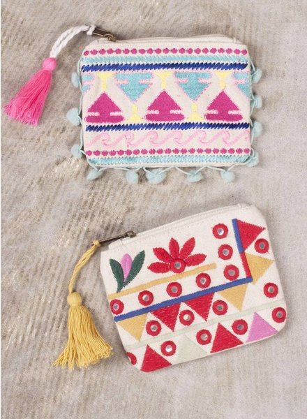 Riley Embroidered Coin Purse