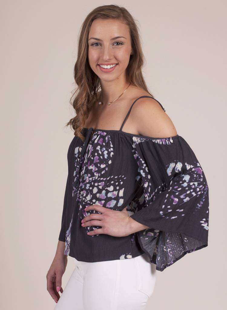 Fianna Butterfly Print Cold Shoulder Top