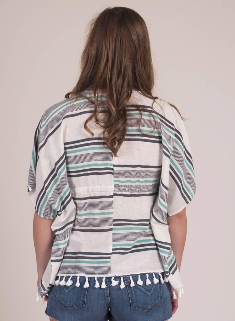 Jessica Striped Tie Front Kimono Top