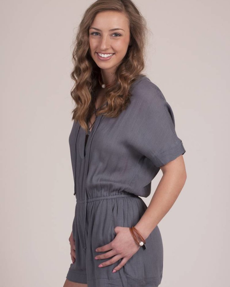 Frankie S/S Lace Up Romper