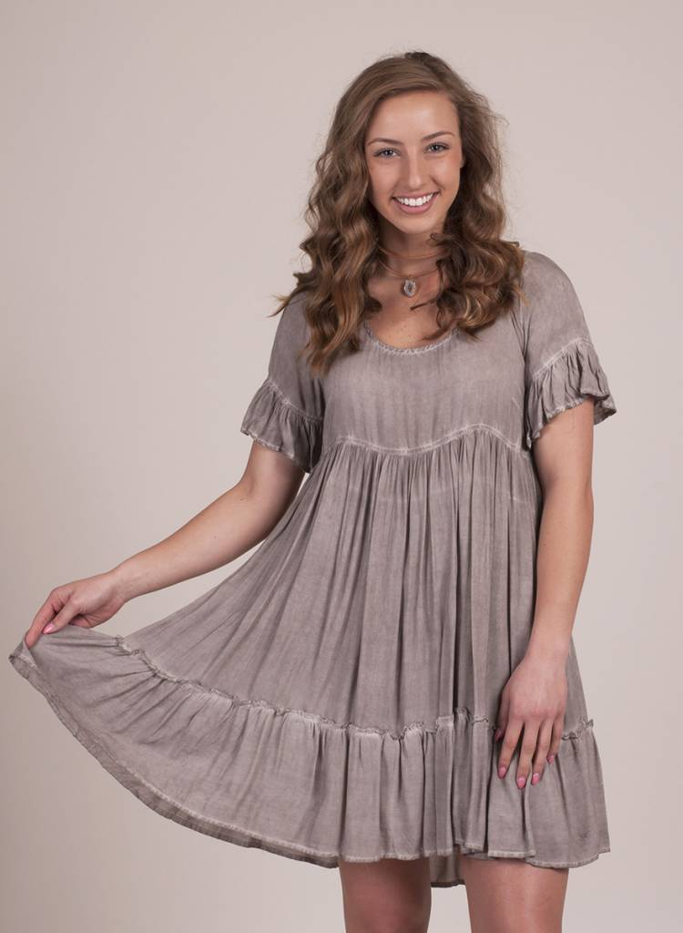 Raine S/S Tiered Ruffle Hem Babydoll Dress