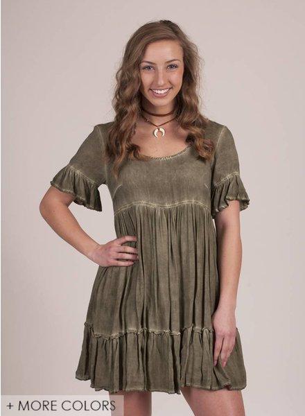 Raine S/S Tiered Ruffle Hem Babydoll Dress