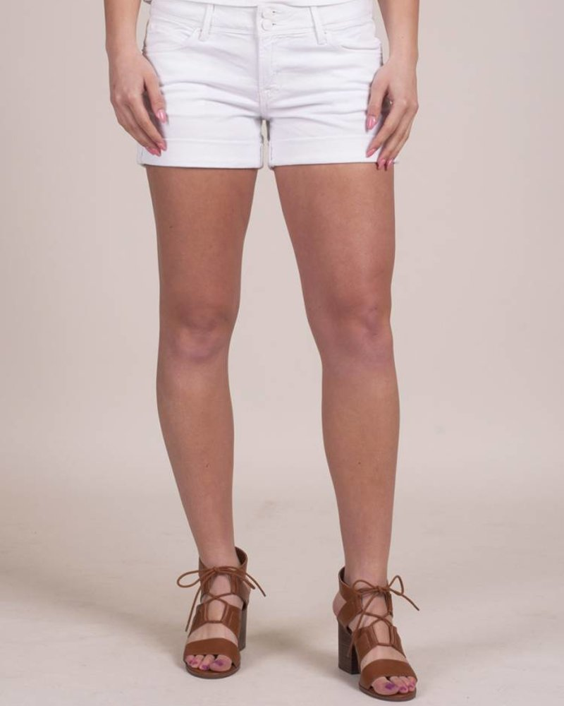 Hudson - White Croxley Mid Thigh Short