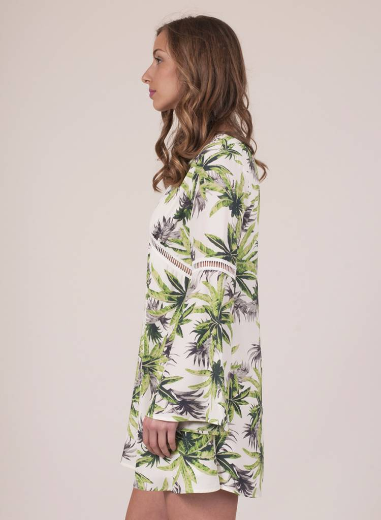 Ashlynn L/S Palm Print Dress
