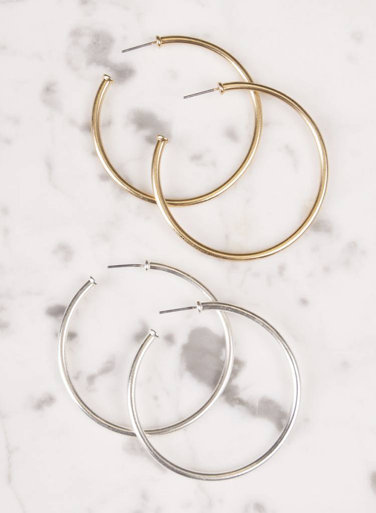 Ann Paige - Adrianna Matte Hoop Earrings