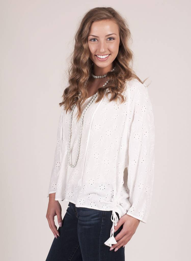 Melanie Embroidered Side Tie Blouse with Tassels