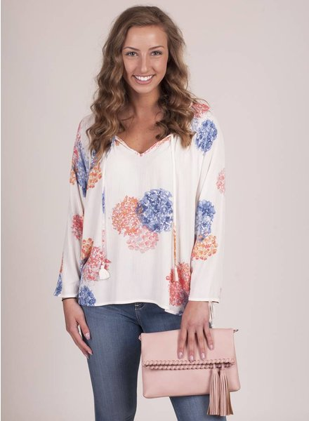 Serenity Side Tie Blouse with Tassels