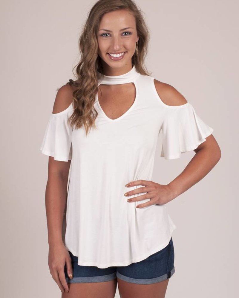 Jackson S/S Cold Shoulder Choker Top