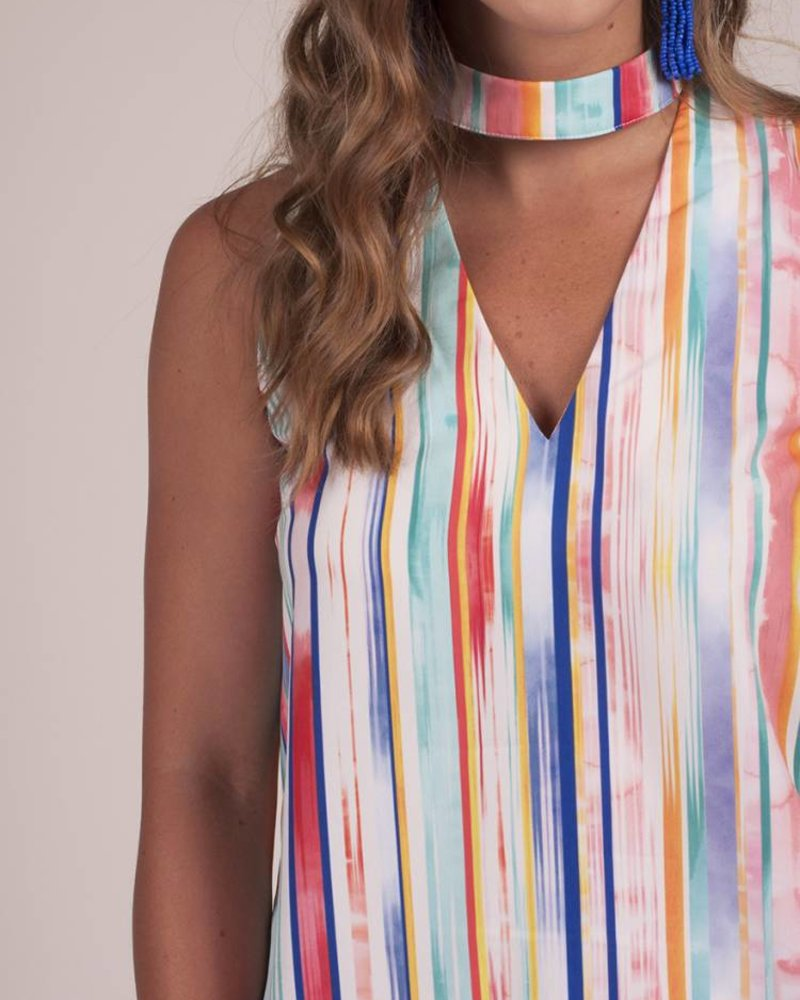 Valerie S/L Paint Print Choker Top