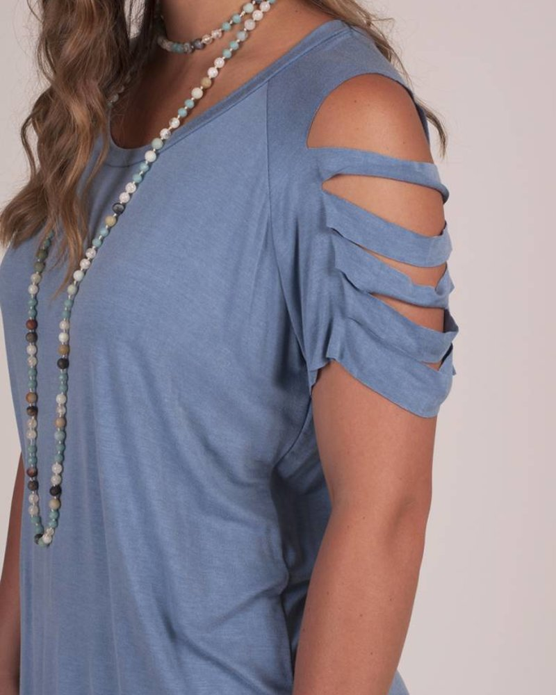 Yvonne S/S Ladder-Cutout Sleeve Top