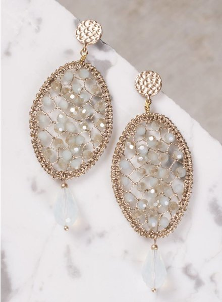 Ann Paige - Joanie Beaded Oval Earring