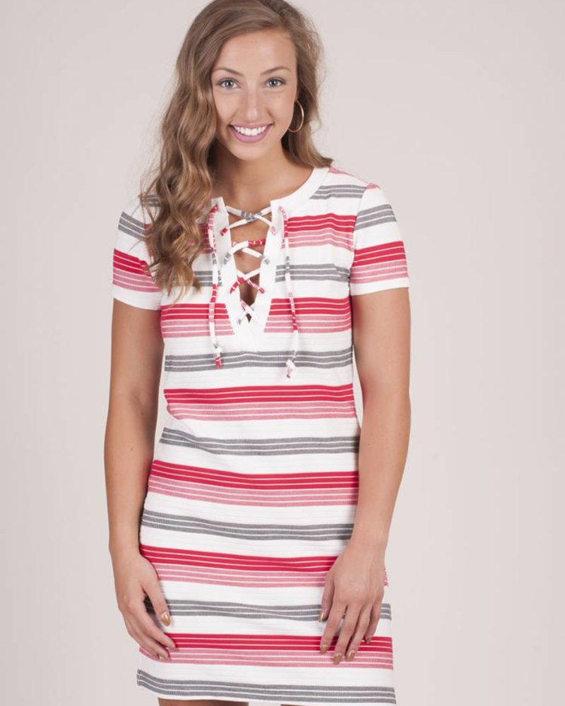 Jack by BB Dakota - Lijah Striped Lace Up Dress