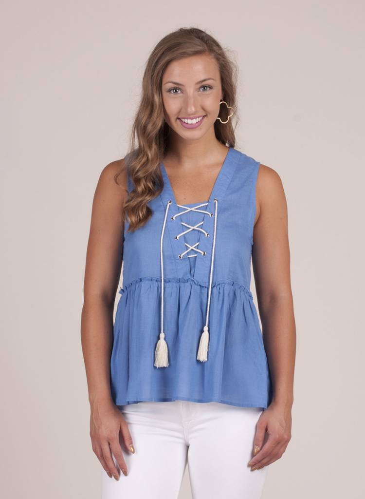 Raven S/L Tiered Lace-Up Top