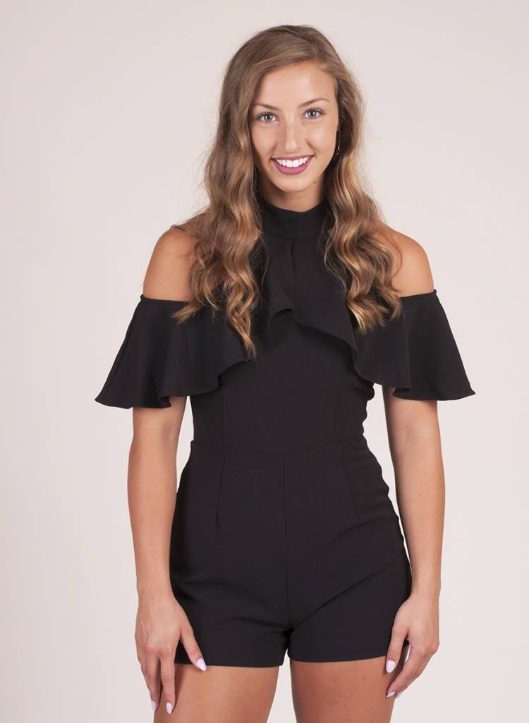 Avery Ruffle Cold Shoulder Romper
