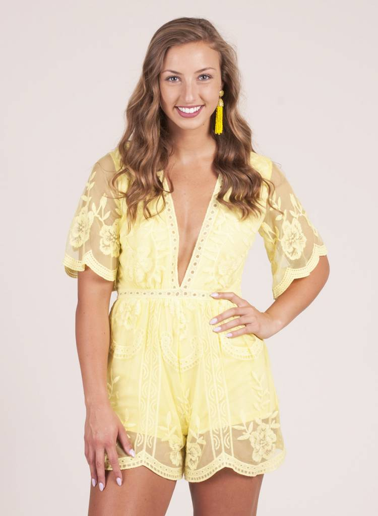 Indy Embroidered Lace Romper