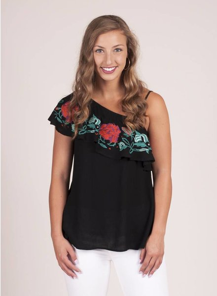 Layla One Shoulder Embroidered Ruffle Top