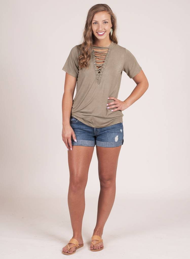 Lillian S/S Lace-Up Top