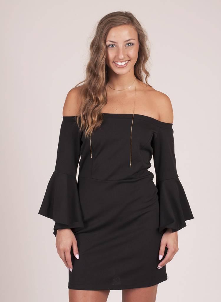 Christie Black OTS Bell Sleeve Dress
