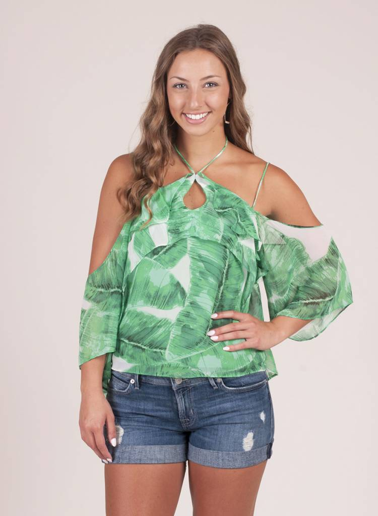 Gianna Palm Cold Shoulder Top