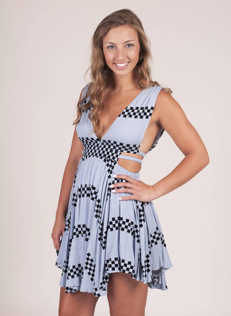 Alice Asymmetrical Hem Geo Print Dress