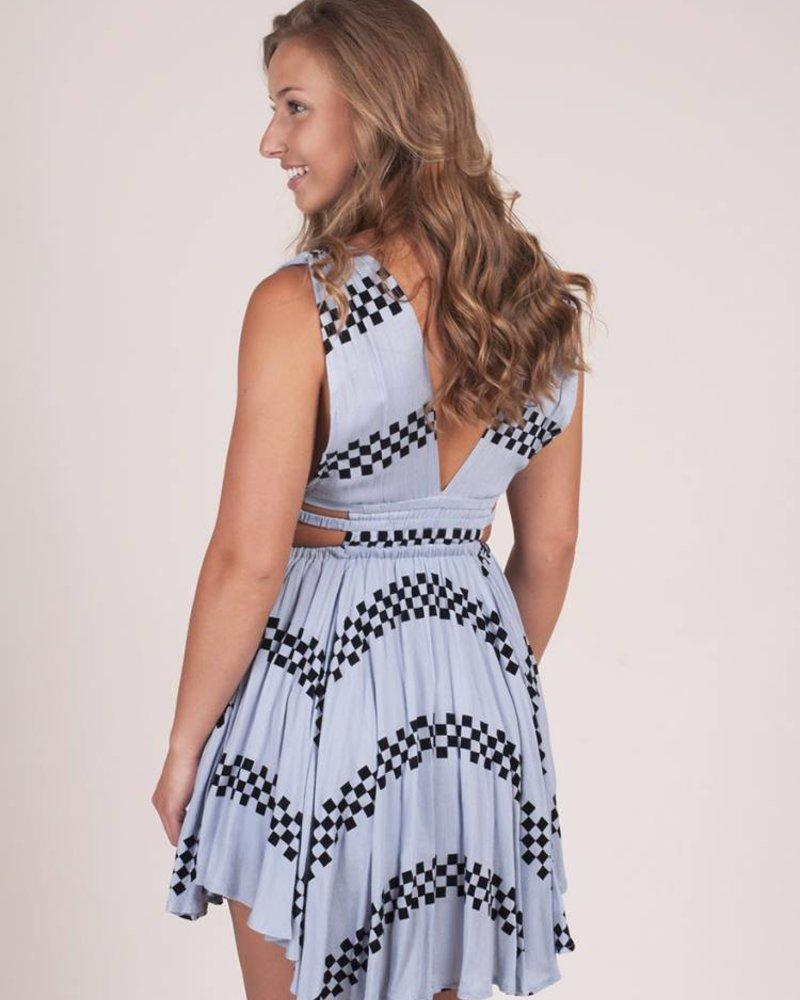 Alice Asymmetrical Hem Geo Print Dress