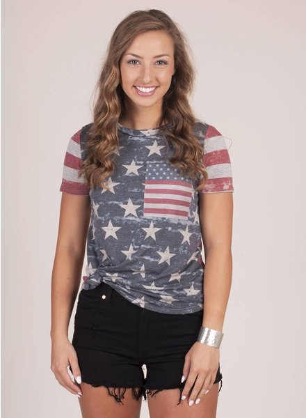Martha Distressed Patriotic Tee