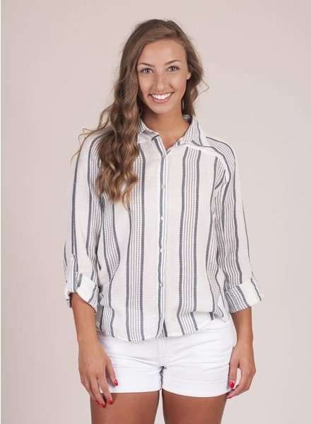 Pippa Striped Button Down Top