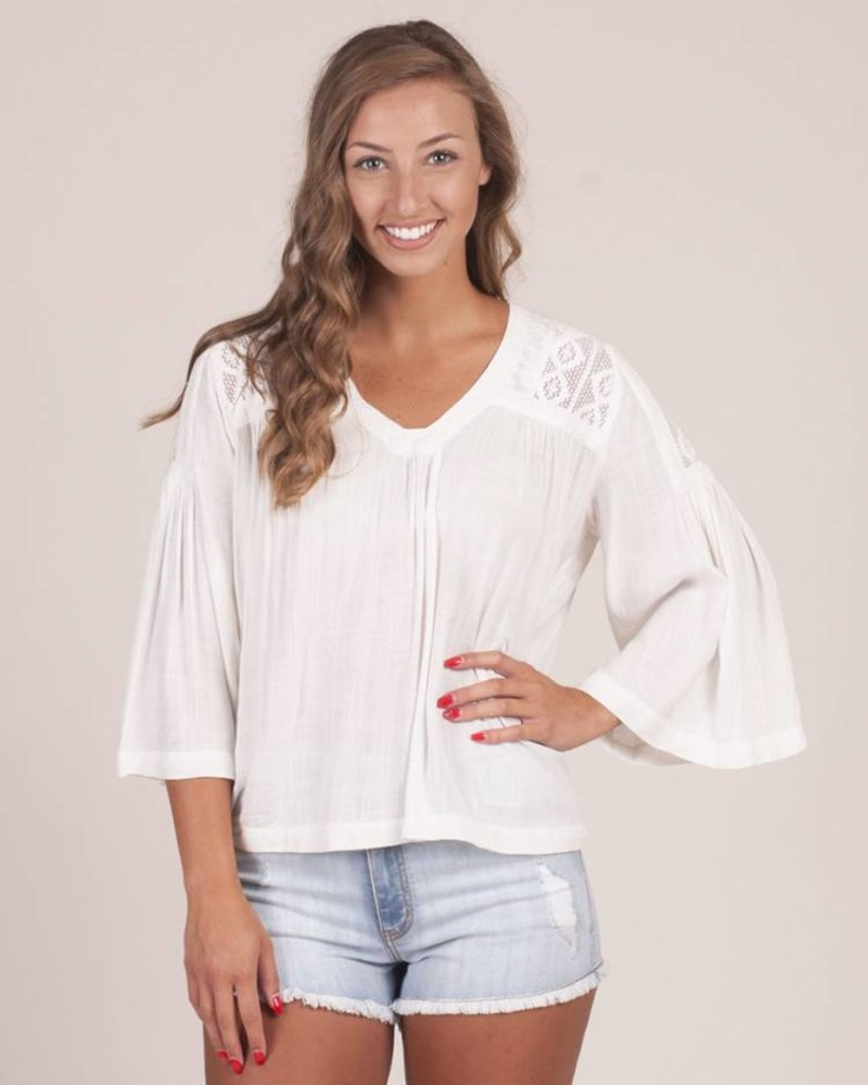 Carrie Lace Embroidered VNeck Top