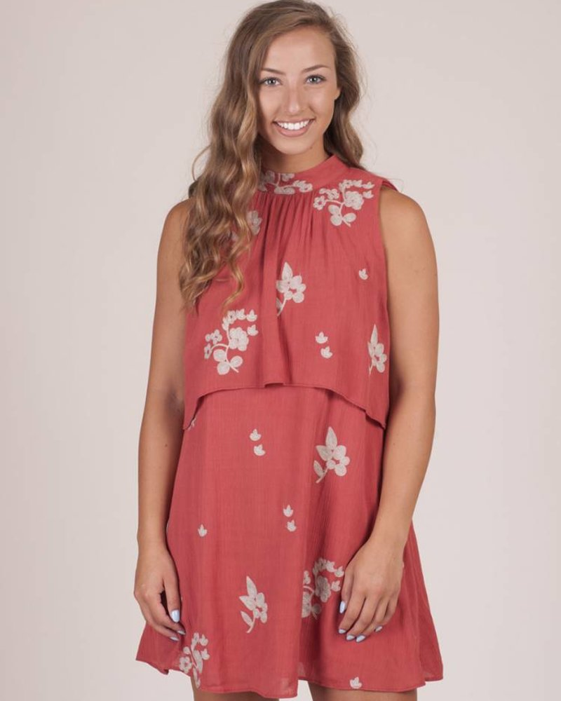 McKenna S/L Ruffled Embroidered Dress