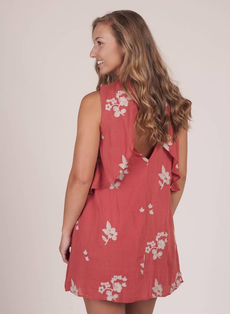 McKenna S/L Ruffled Embroidered Dress