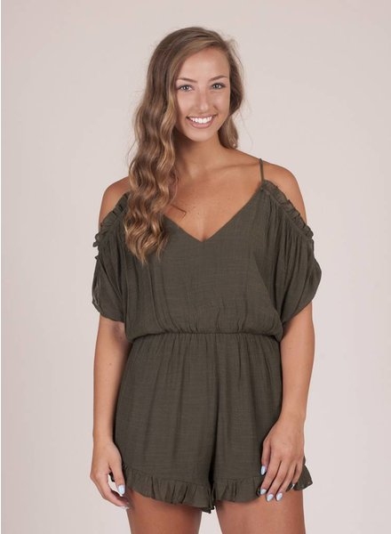 Autumn Cold Shoulder Ruffle Romper
