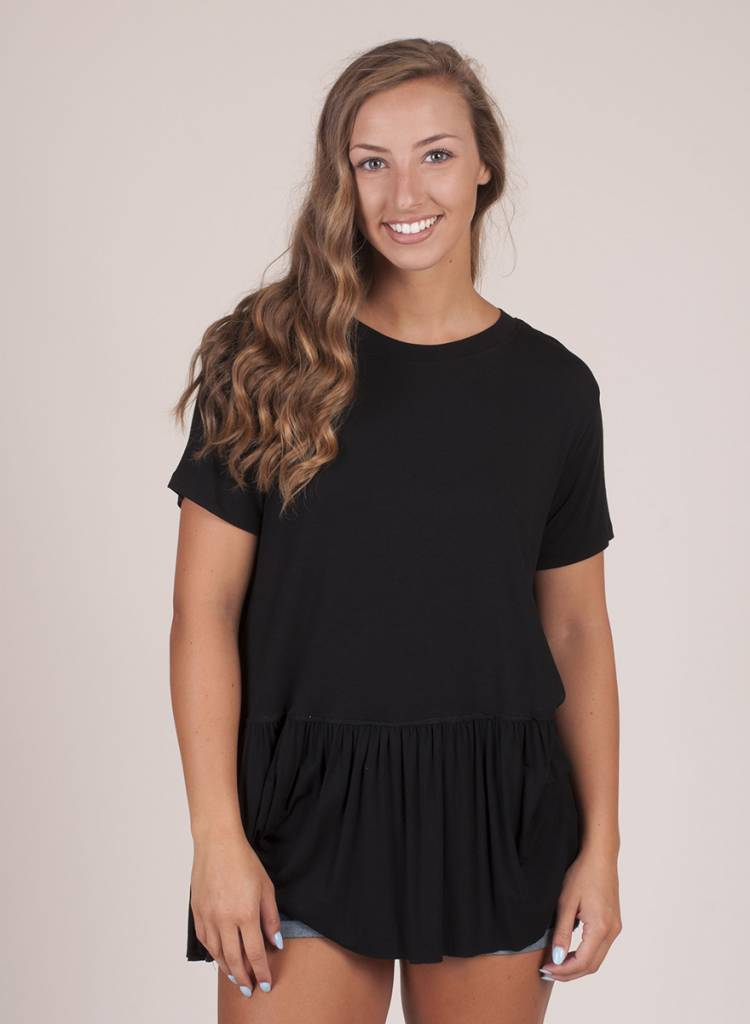 Nina S/S Drop Waist Ruffle Top