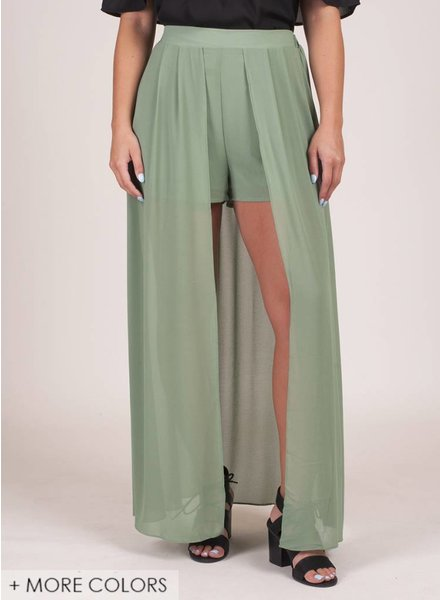 Briella High Waist Shorts w/ Maxi Skirt Pannel