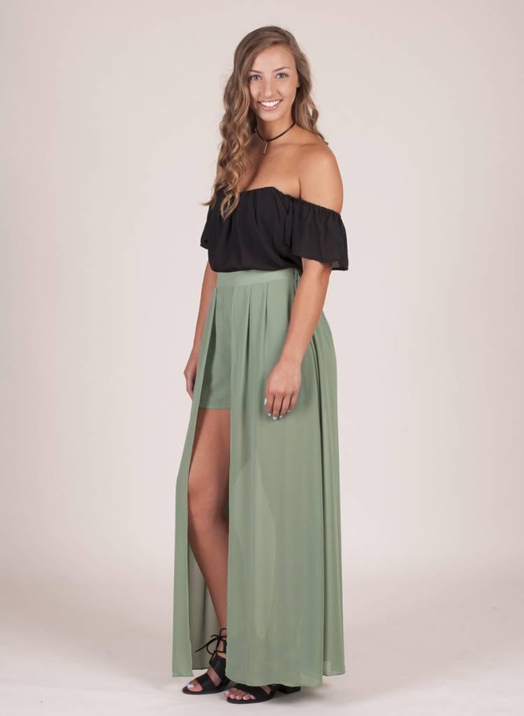 Briella High Waist Shorts w/ Maxi Skirt Pannel