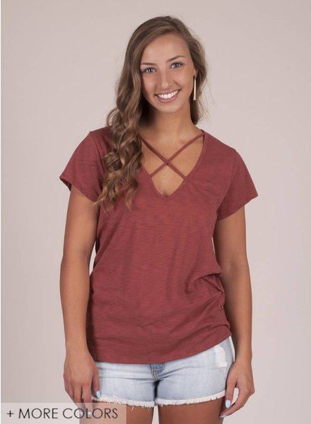 Aspen S/S VNeck Top w/ Criss Cross
