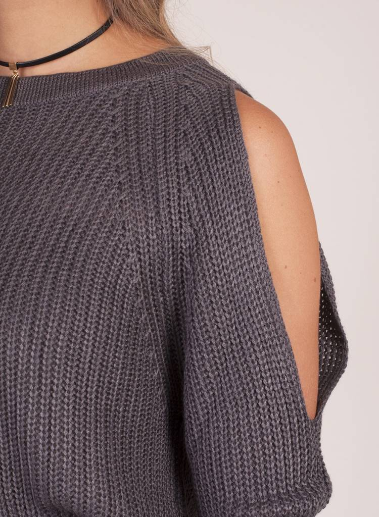 Angel Cold Shoulder Keyhole Back Sweater