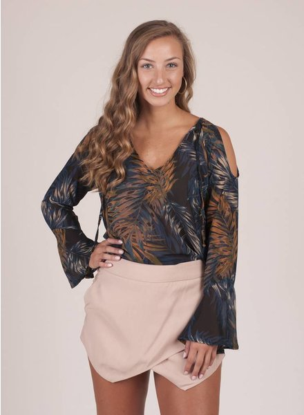 Marlee Fall Palm Cold Shoulder Top