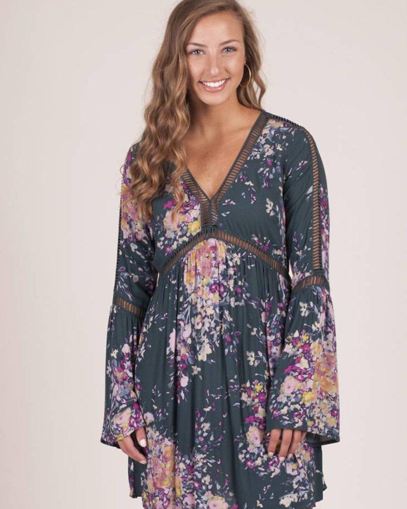 Henley Floral Lattice Bell Sleeve Dress