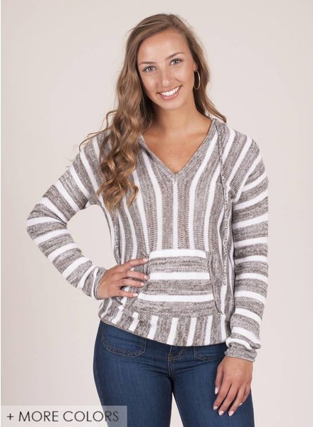 Woods Striped Pullover Sweater w/ Hood