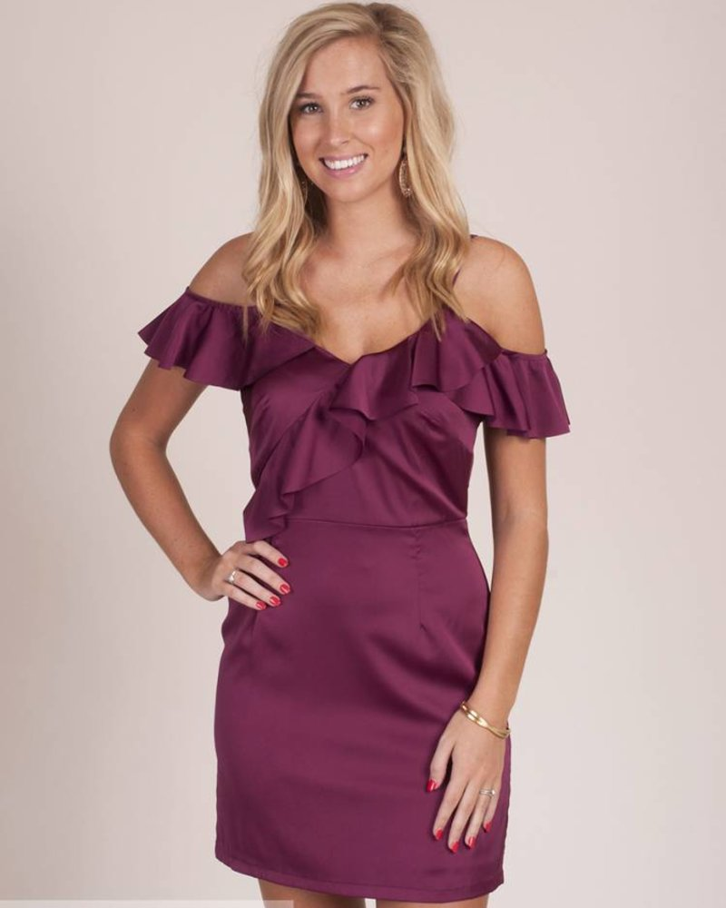 Mandi Ruffled Cold Shoulder Satin Dress