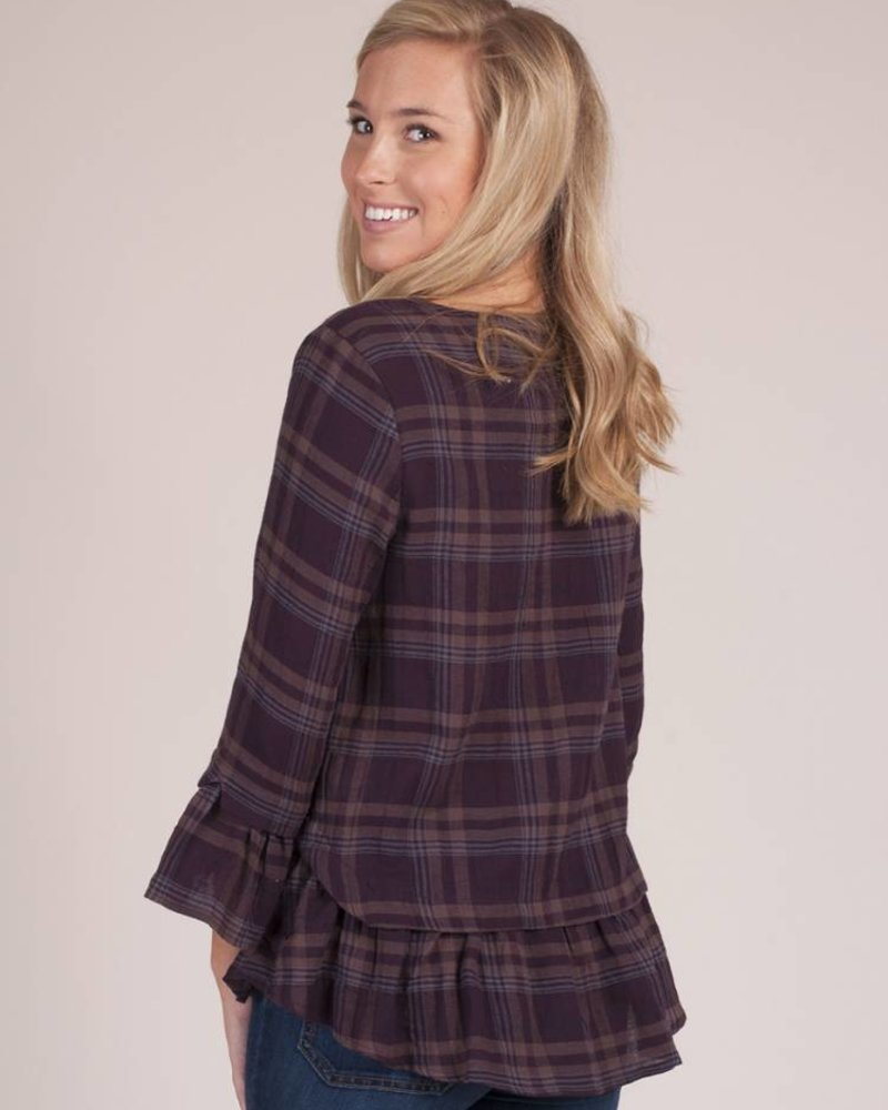 Sonnie Plaid Ruffle Hem Top