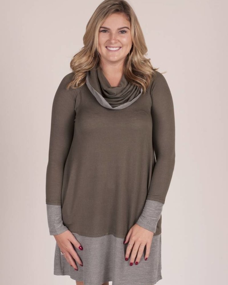 Brinkley Two Tone Cowl Neck Dress