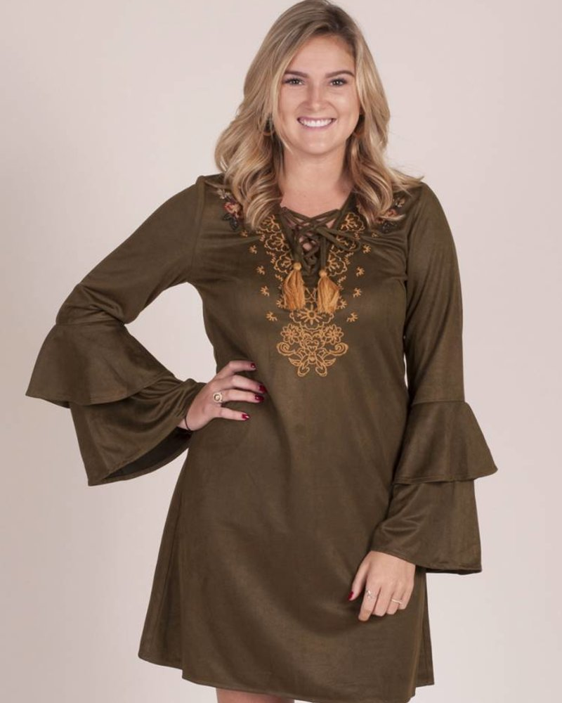 Brooklyn Tiered Slv Embroidered Dress