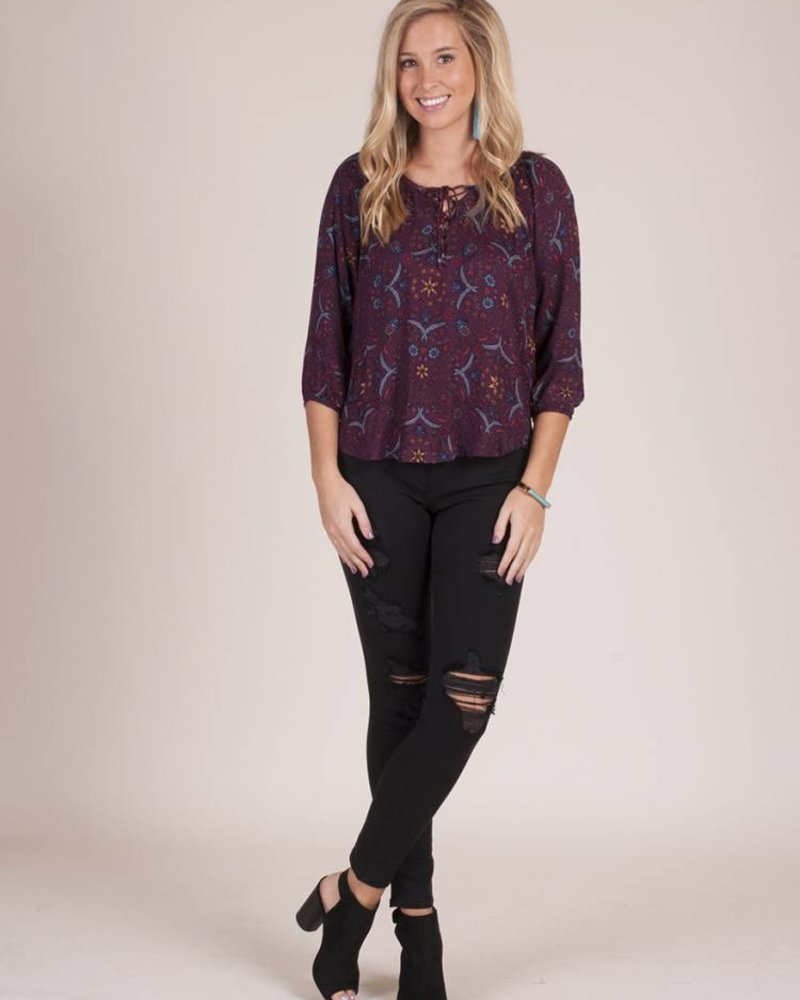 Audrina Lace Up Peasant Top
