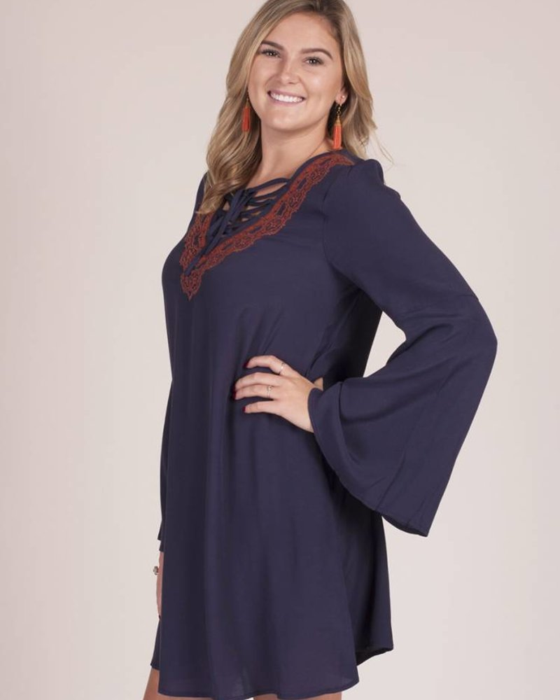 Hilson Embroidered Bell Sleeve Dress