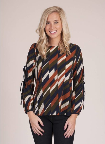 Chandler Printed Button Back Top