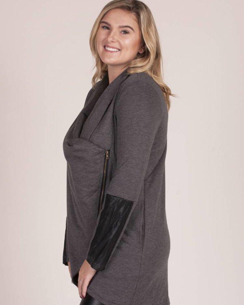 Joyce Side Zip Cowl Neck Jacket