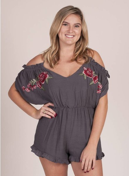 Orion Cold Shoulder Embroidered Romper