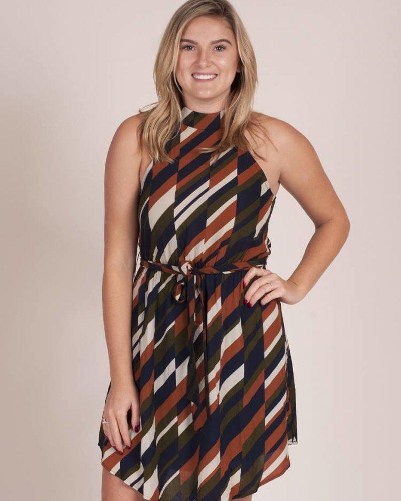 Posh S/L Printed Halter Neck Dress