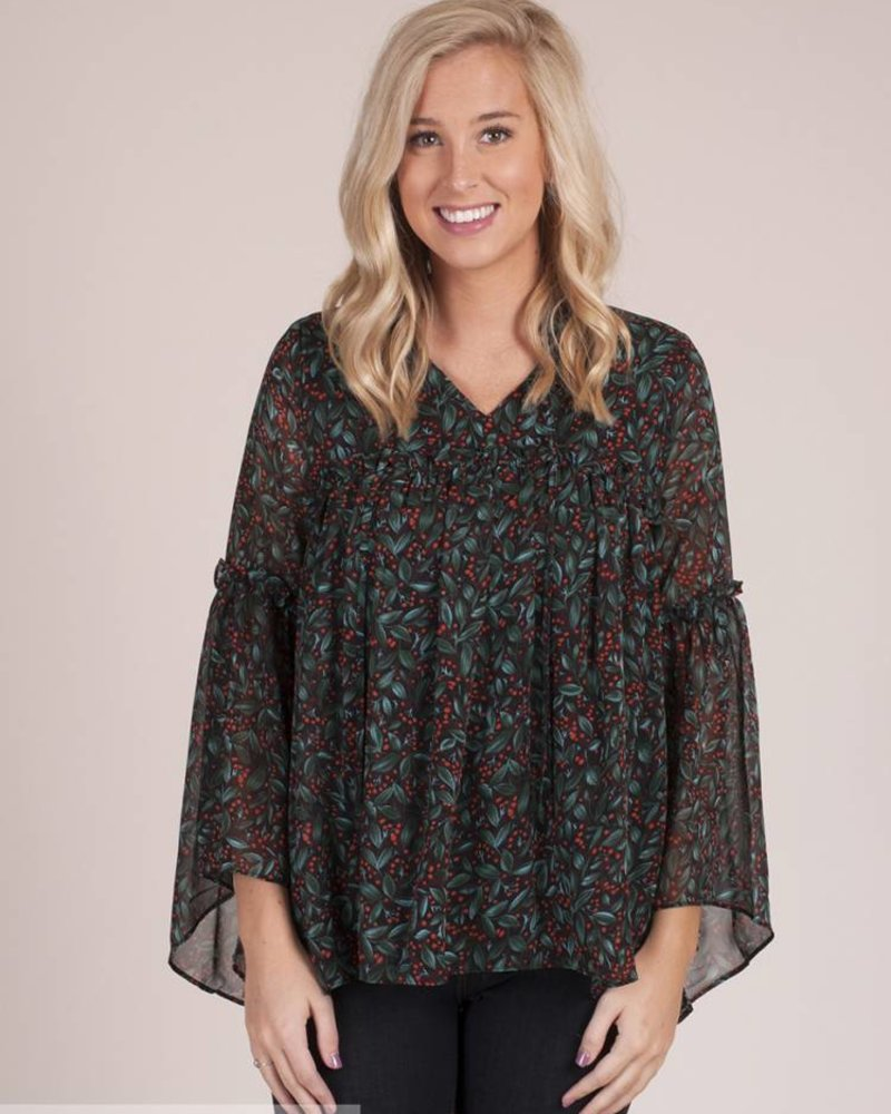 Realms Printed Ruffle Top